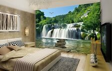 3D Waterfall Landscape PVC Self adhesive Wallpaper Painting TV Background Mural