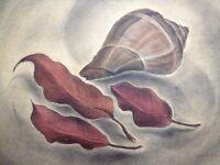 Edloe Risling California Modernist Watercolor Art Deco Style Trompe L'oeil Look!