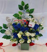 Artificial Dark Blue & White Rose Bouquet Silk Flowers 2 Dozen Wedding Valentine