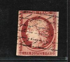 France 1850 Ceres 1Fr brown carmine used FU 3 margins Scott.9b cat $1100 GREEN15