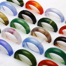FREE wholesale lots 50pcs Colorful natural agate gemstone rings Jewelry woman