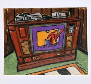 Original Oil Pastel Vintage Big Console TV 'MTV is On' with vcr and old NES art