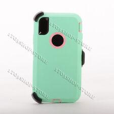 Defender iPhone Xs Max Case w/Holster Belt Clip Fit Otterbox Aqua Teal Baby Pink