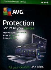 AVG PROTECTION 2016 UNLIMITED DEVICES 1 YEAR WINDOWS MAC ANDROID SEALED RETAIL!