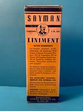 Vtg Drug Store Pharmacy Sayman Liniment Clear Glass Bottle In Original Box
