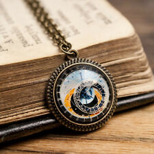 Tiny astronomical steampunk pendant handmade Prague clock, brass chain necklace