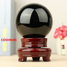 100MM Obsidian Sphere Crystal Natural Grounding Ball Healing Stone With Stand HQ