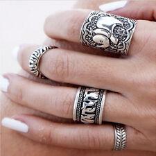 4pcs/Set Women Boho Vintage Punk Carved Antique Silver Elephant Totem Leaf Rings