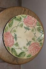 Ancienne Assiette en barbotine - Décors Fleurs roses - N°3