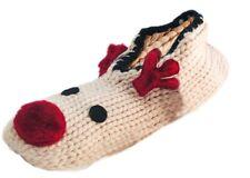 Octava Damas de punto grueso Novedad Reno Zapatillas Calcetines con suela de agarre