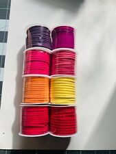 Lot Faux Suede Flat Cord Lacing Bright Colors Pinks Purple Red Orange Yellow