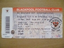 Ticket-England U21 International- ENGLAND U21 v N IRELAND U21,13 Nov 2012(Unused