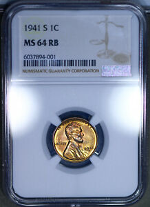 1941-S Lincoln Wheat Cent 1C NGC MS64RB - Looks Proof Like