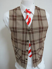 Sz S Brown Plaid Print Via Como MENS Acetate/Rayon Blend #84L Suit Vest