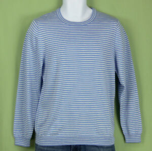 NWT Brooks Brothers boys sweater striped blue white supima pullover L(14-16)