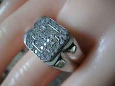 Sterling Silver Men's Cross White CZ Cluster Cocktail Ring Sz. 10.5