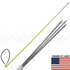 5' One Piece Spearfishing Fiber Glass Pole Spear 3 Prong Barb SS Paralyzer Tip