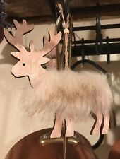 WOODEN REINDEER CHRISTMAS HANGING DECORATION WITH FUR WOODLAND, GIFT