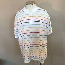 Lacoste Polo Collar Shirt Alligator Logo White Striped Men's Size 9 XXXL 3XL