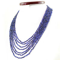 AMAZING 231.45 CTS NATURAL 7 STRAND RICH BLUE TANZANITE ROUND BEADS NECKLACE