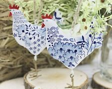 GISELA GRAHAM EASTER COUNTRY BLUE FOLK PAINTED TIN HEN DECORATION