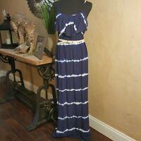 "Ladies Iz Byer Belted Maxi Dress Size M Blue White Tye Dye  ""Free Shipping"""