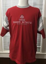 Starter Ohio State Buckeyes Mens XL Red White Grey Striped Sport Sleeve T Shirt