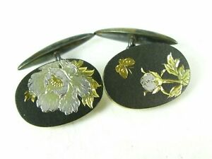 Antique 14K Sterling Engraved Cufflinks Signed Justice, Peace in Ancient Chinese