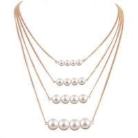 New Fashion Multilayer Chain Pearl Choker Chunky Collar Bib Statement Necklace