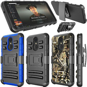 For LG Q7/Q7 Plus/Q7 Alpha Case Belt Swivel Clip Holster Shockproof Hybrid Cover