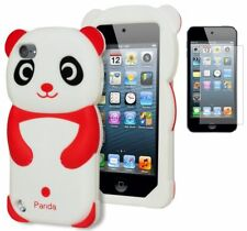 For iPod Touch 5 3D Cute Red & White Panda Silicone Gel Case+Screen Protector