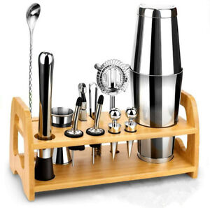 Bartender Kit with Stand | Stainless Steel Set for Cocktail and Drink Mixing