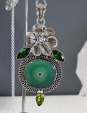 925 Sterling Silver Overlaid Solar Quartz, Emerald & Peridot Pendant w/Chain