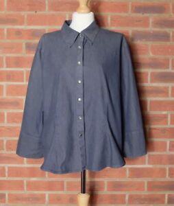 M&S Dark Indigo Denim Look Button Up Shirt UK 20