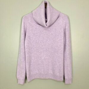Nordstrom Cashmere Cowl Neck Sweater Women's Size M Ribbed Accents Lilac