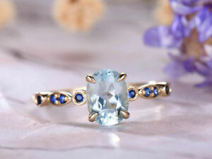 1.56Ct Oval Blue Aquamarine & Sapphire Ring Solitaire 14K Rose Gold Finish