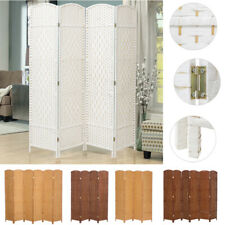 4/6 Panels Solid Weave Wicker Folding Room Divider Hand Made Privacy Screen UK