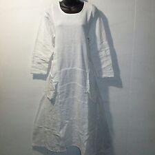 Dress Fits L XL 0X Plus Soft Organic Cotton Big Pockets White Boho Soft NWT G656