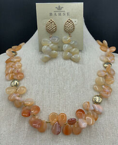 Elements from Barse- Neck & Earrings- Agate- Bronze- NWT