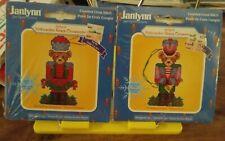 2 Janlynn cross stitch kits Nutcracker Bears Ornament Horn & Garland 2.5x4.2 NEW