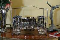 Vintage Set of Silver Dot Glassware, Tumblers, Shot Glasses, Ice Bucket in Caddy
