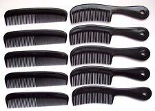 5 AFRO & 5 POCKET UNBREAKABLE BLACK PLASTIC MEN'S BOY'S HANDLE HAIR COMBS GROOM