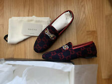 """GUCCI """"JORDAAN"""" FLAT GG FLANNEL LOAFER Size 39 Blue/Red $695"""