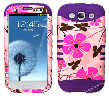 KoolKase Hybrid Silicone Cover Case for Samsung Galaxy S3 - Flower Pink 18