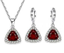 925 Sterling Silber wunderschöne Trillion Granat Ohrringe Halskette Schmuck Set