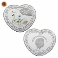 WR Heart Shape Forever Love Swan Silver Coin Medal Anniversary Gifts for Wife
