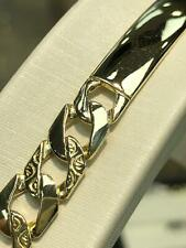 9CT Yellow SOLID Gold Genuine DIAMOND CUT BOMBE ID Bracelet BRAND NEW
