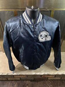 Vintage Dallas Cowboys NFL Football Snap Satin Jacket Mens Sz Medium Chalk Line