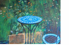 Terry George painting of table and chair in the artist's garden
