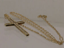 """10K gold and 24 Diamond Pendant Cross Necklace With 18"""" 10K gold Chain"""